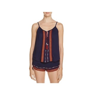 Band of Gypsies Womens Casual Top Embroidered Sleeveless
