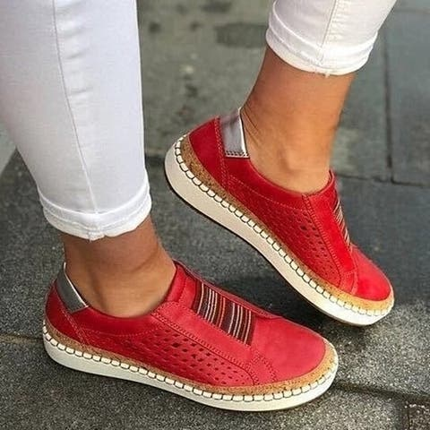 5 Colors Optional Perforated Slip-On Casual Sneakers