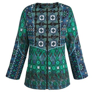 Women's Cotton Jacket - Zip-Up Blue And Green Printed Lightweight Coat