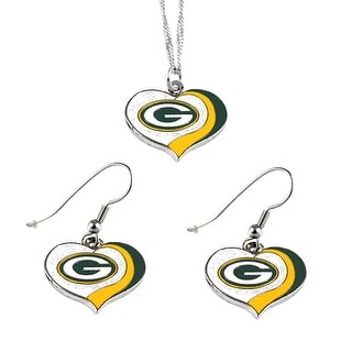 Green Bay Packers NFL Glitter Heart Necklace and Earring Set Charm Gift