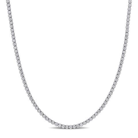 Miadora 14k White Gold 4 5/8ct TDW Diamond Tennis Necklace - 17 inch