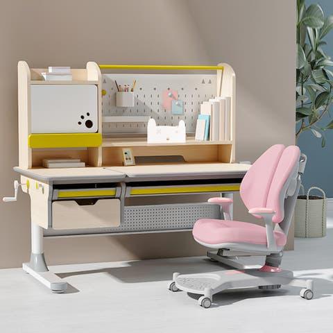 Ergonomic Real Wood Adjustable Kids Study Desk Drafting Table And Computer Station