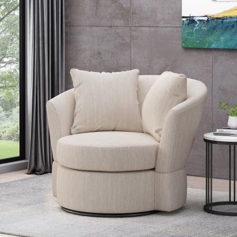 Smyrna Indoor Upholstered Swivel Club Chair by Christopher Knight Home