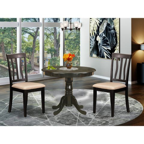 East West Furniture Cappuccino Round Table Plus 2 Kitchen Chairs 3-piece Dining Set (Finish Chair)