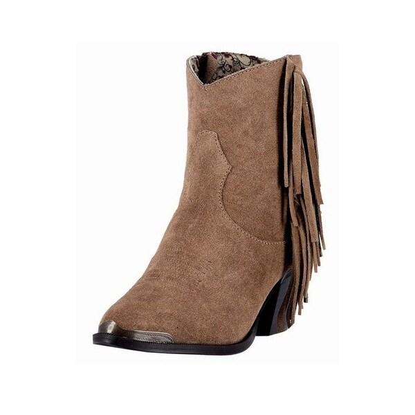 Dingo Western Boots Womens Gigi Fringe Side Zip Toe Cap Brown DI 553