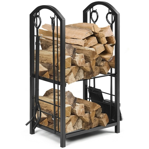 Gymax Fireplace Log Rack with 4 Tools Set Fireside Firewood Holders Indoor Outdoor