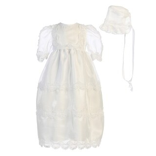 Angels Garment Baby Girls White Organza Lace Pearl Bead Baptism Dress 3-18M