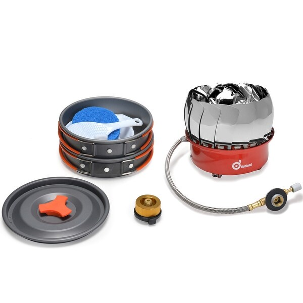ODOLAND Camping Cookware Kit w/ Mini Camping Stove Best 1-2 Person Pot Pan Kit for Outdoor