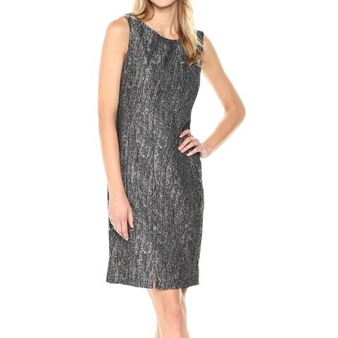 Kasper Gray Womens Size 8 Shimmer Jacquard Pleat Hem Shift Dress