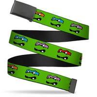 Blank Black  Buckle Classic Tmnt 8 Bit Faces Green Webbing Web Belt