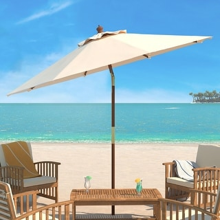 Link to Safavieh Cannes 9 Ft Wooden Beige Outdoor Umbrella Similar Items in Patio Umbrellas & Shades