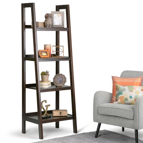 "WYNDENHALL Hawkins SOLID WOOD 72 inch x 24 inch Modern Industrial Ladder Shelf - 24""w x 20""d x 72"" h"