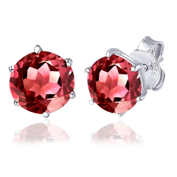 Multi Color Gemstones Sterling Silver Round Stud Earring by Orchid Jewelry. Opens flyout.