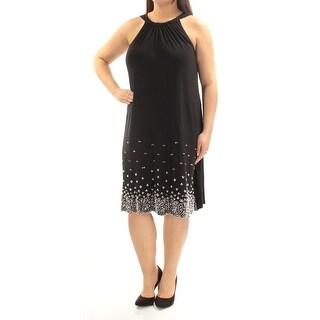 MSK $89 Womens New 1230 Black Pleated Embellished Sleeveless Dress 1X Plus B+B
