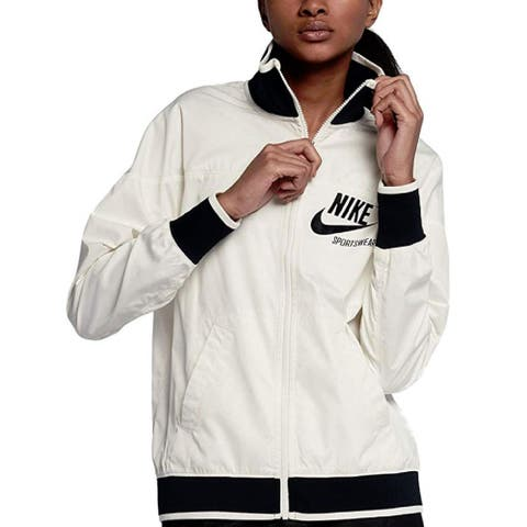 Nike Women's Sportswear Water Repellent Track Jacket Sail Size Large - White