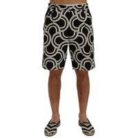 Dolce & Gabbana Black White Pattern Linen Shorts