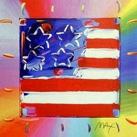 Flag with Heart III, Ltd Ed Lithograph, Peter Max