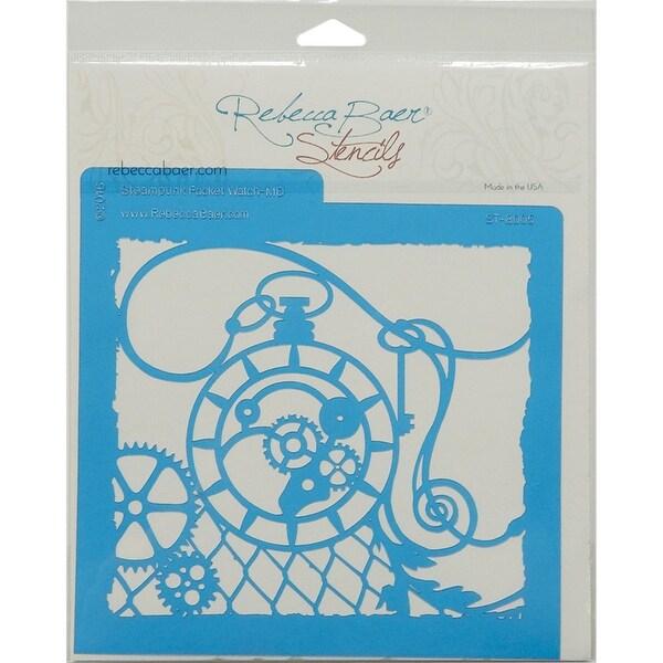 "Rebecca Baer Stencil 7.75""X7.75""-Steampunk Pocket Watch"