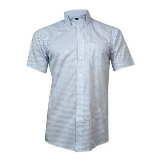 Club Room Men's Check Short-Sleeved Dress Shirt (White/Blue, 14.5) - White/Blue - 14.5