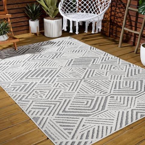JONATHAN Y Jordan High-low Pile Geometric Indoor/Outdoor Area Rug