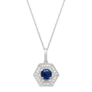 3/8 ct Natural Kanchanaburi Sapphire & 1/10 ct Diamond Hexagon Pendant Necklace in 14K White Gold - Blue
