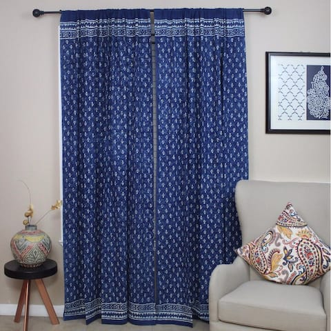 Cotton Dabu Block Print Geometric Curtain Checkered Drape Panel