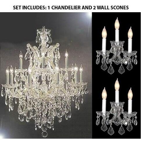 Set Of 3 1 Swarovski Crystal Chandelier And 2 Swarovski Maria Theresa Wall Sconce Silver