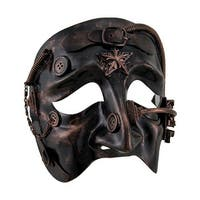 Metallic Steampunk Buckle and Buttons Half Mask