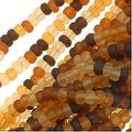 Czech Seed Beads Mix 11/0 Matte Tortoise Brown Amber - Thumbnail 0