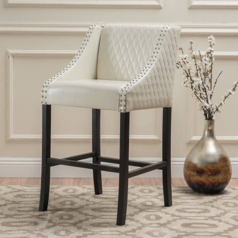 "39.25"" Ivory and Black Quilted Contemporary Bar Stool"