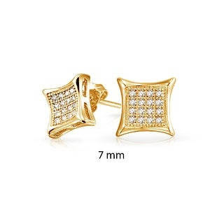 Bling Jewelry Kite Shaped White Unisex CZ Stud earrings Gold Vermiel 7mm