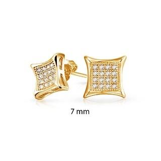 Bling Jewelry Kite Shaped White Unisex CZ Stud earrings Gold Vermiel 7mm