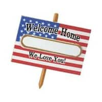 "3"" American Flag Welcome Home Soldier Christmas Tree Ornament - White"