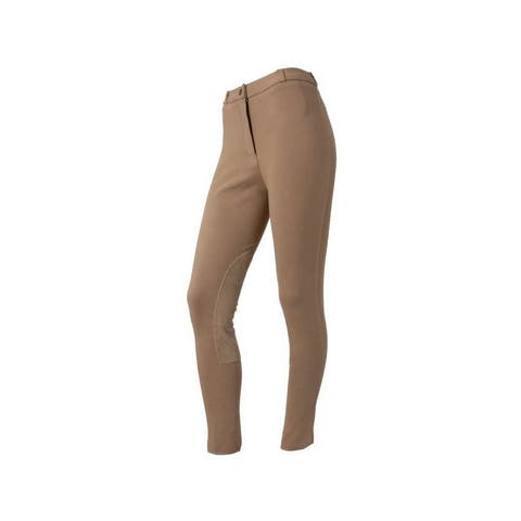 Tough 1 English Breeches Womens Knitted Suede Knee Medium Rise - Tan