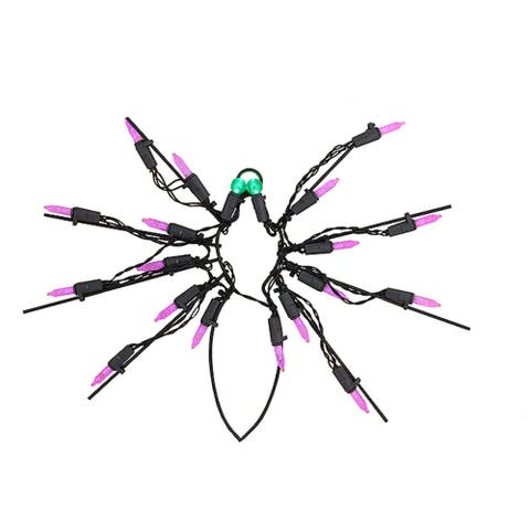 """12"""" Purple and Green LED Lighted Spider Halloween Window Silhouette Decoration"""