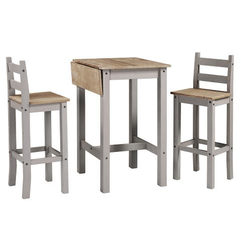 Wood Bar Height Dining Set of Drop Leaf Table and 2 Chairs Corona Collection Furniture Dash