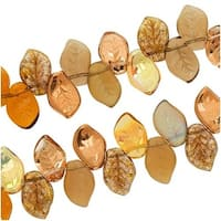 Czech Glass Wheatberry Brown Copper Leaf Beads 9mm X 14mm (50 Beads)
