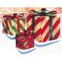 3-Piece Glistening Striped Lighted Gift Box Outdoor Christmas Decoration - Multi