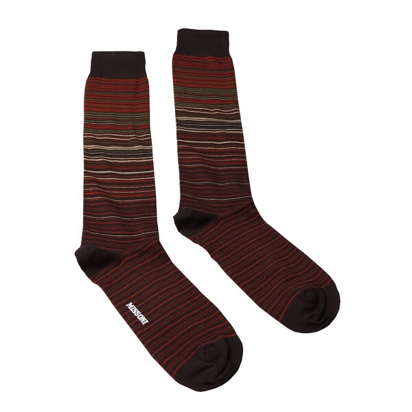 Missoni GM00CMU5232 0004 Red/Tan Striped Knee Length Socks - M