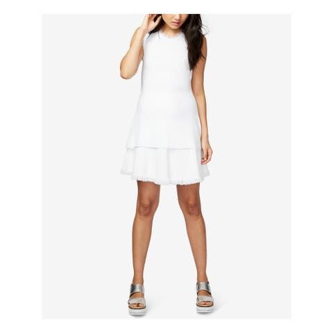 RACHEL ROY Womens White Knit Fringe Sleeveless Sweater Size L