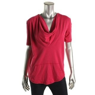 Tommy Hilfiger Womens Short Sleeves Cowl Neck Pullover Top