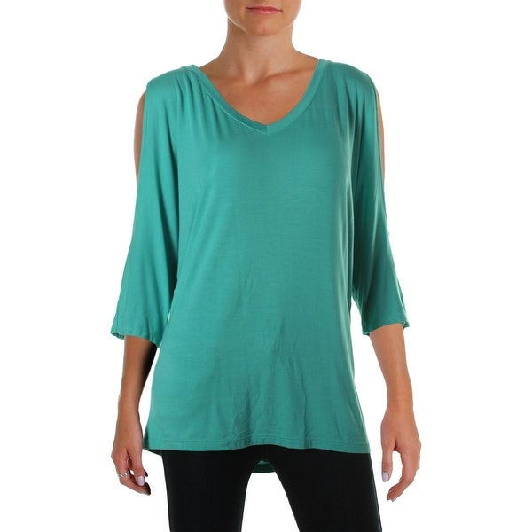 Kut From The Kloth Womens Pullover Top Jersey Cold Shoulder