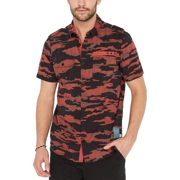 X Grid Button Up Shirt Buffalo David Bitton Mens Saugo