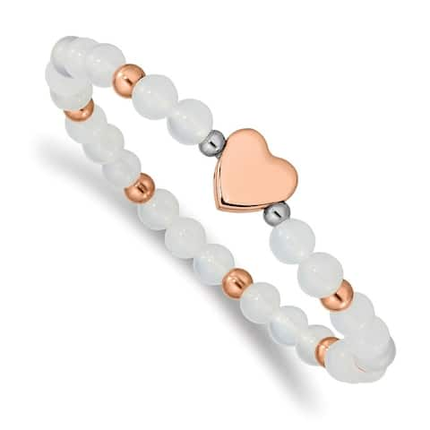 Chisel Stainless Steel Rose IP-plated Heart White Agate Stretch Bracelet