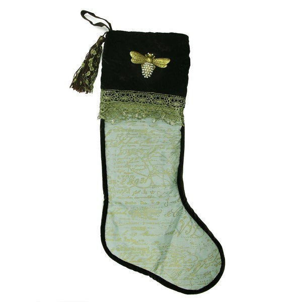 "27"" Elegant Chocolate Brown, Aqua and Gold French Writing with Bee Decorative Christmas Stocking"