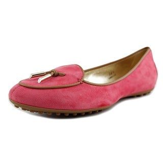 Tod's Ballerina Dee Pantofola Laccetto Women Round Toe Suede Pink Flats