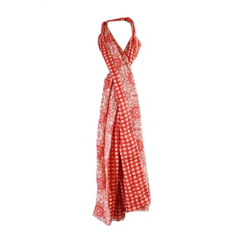 Echo Red Double Faceted Floral Plaid Poppy Scarf OS