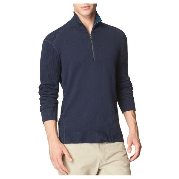 Calvin Klein Jeans Textured Quarter Zip Sweater Blue Rush Mock Neck