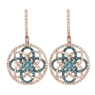 Prism Jewel 2.04Ct G-H/SI1 Ice-Blue Diamond & Diamond Earring - White G-H