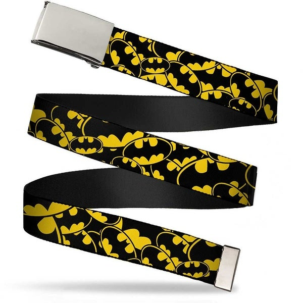 "Blank Chrome 1.0"" Buckle Bat Signals Stacked Yellow Black Webbing Web Belt 1.0"" Wide - S"